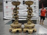 China Folklore Candlestick Brass Copper Two Dragon Play Bead Lotus Candleholder