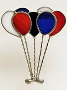 Vintage Handcrafted Leaded Slag Glass Balloon Brooch Clown Shoes 3 1/4