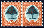 South Africa 1937 6d. Green And Vermilion Die I Roto Bilingual Pair P14 Sg 61 Mint
