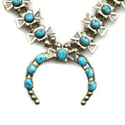 Navajo Turquoise And Stamped Silver Squash Blossom Necklace C. 1940s 28 Long