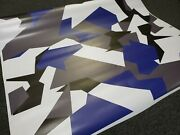 Blue Geometric Camouflage Vinyl Wrap Matte Vehicle Wrap For Car Truck And Boat