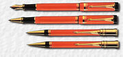 Parker Duofold Set Special Edition Orange Fountain Rollerball Ballpoint Pencil