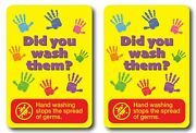 2x Hand Washing Kids Sign Decal Sticker 3m Wall Window Car Stop Spread Of Germs