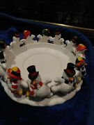 Partylite Frolicking Frosty Snowman 3-wick Candle Holder Or Small Tree Base