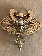 Antique 14kt.open Work Brooch/lapel Watch Pin Accented Seed Pearl W/ Dual Hanger