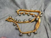 Antique Metal Sleigh Bells 25 W/orig. Leather Strap Wrapped In Silk Nice