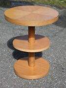 Vintage Mid Century Modern Bleached Mahogany Round 3 Tier Plant Stand Table