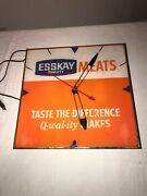 Vintage 1960's Esskay Meat Products Advertising Clock W/glass Face Pam Clock Co