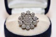 Old Vintage 18k Gold Natural Diamond Decorated Rose Style Amazing Ring