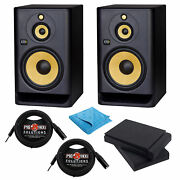 Krk Rokit Rp103g4 Powered Studio Monitor Speaker W/ Pads Audio Cables And Cloth