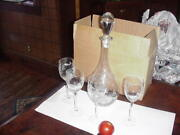 Crystal Clear Etched Grape Cluster And Leaves Wine Glasses 4 Glasses And Decanter.