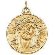 Face Of Jesus With Crown Of Thorns Pendant In 14k Yellow Gold 3 Sizes