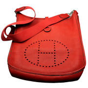 Authentic Hermes Evelyne Red Clemence Leather Pm Handbag Purse