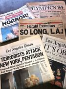 Lot Of 4 Vintage Newspapers World Trade Center Sept 12 2001 Olympics 1984 Obama