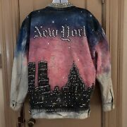 Vintage New York City Twin Towers Denim Jacket L Painted And Embellished 911