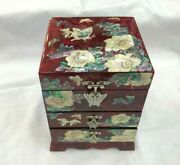 Korea Mother Of Pearl Wood 3 Stage Oriental Treasure Jewelry Ring Box Red Uk