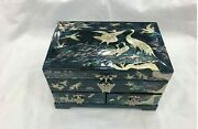 Korea Mother Of Pearl Wood Black Lacquer Oriental Treasure Jewelry Ring Box Uk