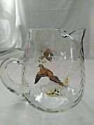 Ned Smith Vintage Glass Pitcher With Morning Dove And Woodcock