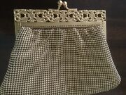 Whiting And Davis Mesh Beaded Gold Clutch Clasp Purse