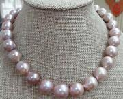 Huge 1813-16mm Natural South Sea Genuine Purple Violet Pearl Necklace 523aaa