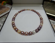 Huge 1813-16mm Kasumi White Gold Pink Purple Nuclear Round Pearl Necklace Aa+