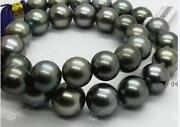 Huge 1813-16mm South Sea Black Round Pearl Necklace Good Luster 08adaaa+