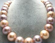 Huge 18 12-15mm South Sea White Gold Pink Purple Multic Round Pearl Necklace