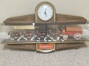 1970and039s Vintage/antique Budweiser Illuminated Clydesdale Two Sided Bar Clock