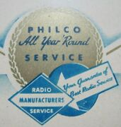 Philco Radio Service And Repairs Old Shop Advertising Sign Parts Tubes Tin Bevel