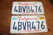 1999 California License Plates, Sesquicentennial Pair, Stickers From July 2000
