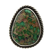 Mark Chee - Navajo Turquoise And Silver Ring C. 1950s Size 4.5