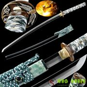 Clay Tempered Folded Pattern Steel Japan Samurai Sword Copper Tsuba Hand Forged