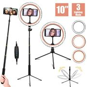10and039and039led Lamp Ring Light Dimmable Selfie Stick Tripod Kit For Makeup Youtube Live
