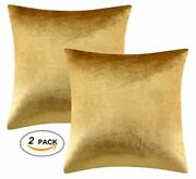 2 Packs Velvet Green Gold Silver Decorative Cushions Covers Cases For Soda Bed