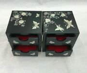 Mother Of Pearl Wood Vintage Butterfly Dual Oriental Treasure Jewelry Ring Box