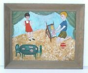 Vintage 1950and039s Cute Outsider Art Painting Children Playing House