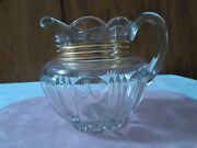 Vintage Clear Glass Heavy Pitcher With Trim Gold Scolloped Edge Mint Julep