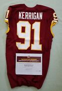 91 Ryan Kerrigan Of Redskins Nfl Game Used And Unwashed Jersey Vs. Giants Wcoa