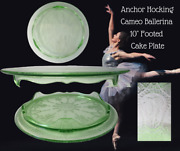 Anchor Hocking Depression Glass Cameo Ballerina Green-10 Footed Cake Plate