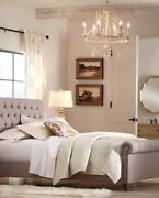 35h French Country Farmhouse European 6 Light Chandelier Chateau Creamy White