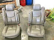 99-07 Sierra 1500 2500 3500 Front Seat Pair Gray Leather Drivers Passenger Power