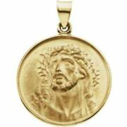 Face Of Jesus Pendant 25mm In 18k Yellow Gold Jesus With Crown Of Thorns Medal