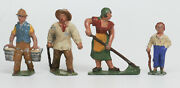 Four Lead Farm Figures Made In France 132