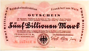 1923 Germany Reichsbahn 5trillion / 5.000.000.000.000 Mark Banknote