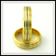 Two Tone 18 Kt Solid Gold Custom Made Wedding Band For Men And Ladies / Te 0006
