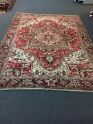 S.antique Hand Knotted Vintage Serapi Herizz Area Rug Geometric 8'2x10'10,292