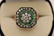 Antique Style New Made 8k Gold Natural Caliber Emerald And Diamond Ring