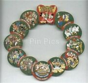 Old Disney Pin Set 12 Days Of Christmas Wreath 70 Characters Goofy Donald