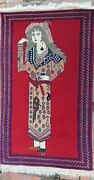 Vintage Afghan Tribal Decor Wall Hanging Pictorial Hunting Rug 55andrdquox33andrdquo