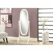 Cheval Antique White Solid Wood Oval Mirror Wood